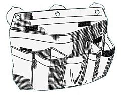Tasca portaoggetti in tela 390 x 300 mm con scomparti