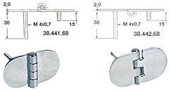 Cerniera inox 68,5x38,5 mm con prigionieri nodo rovesciato