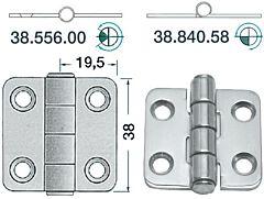 Cerniera inox 38x39 mm modello mezzo incasso