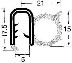 Profilo PVC armato per bordare nero spessore 5 mm