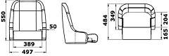 Sedile imbottito rivestito con flip up H51 RAL9010